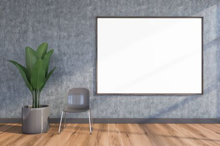 Horizontal mock up poster frame hanging in empty living room interior with concrete wall, wooden floor, gray chair and plant. Concept of art and advertising. 3d rendering