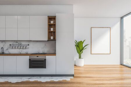 Interior of stylish kitchen with white and marble walls, wooden floor, white countertops and cupboards and built in appliances. Vertical mock up poster frame. 3d rendering 스톡 콘텐츠 - 133855418