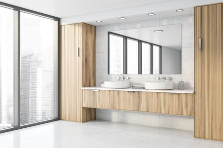 Corner of stylish panoramic bathroom with white tile walls, concrete floor, double sink standing on wooden countertop and big mirror. 3d rendering