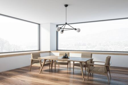 Corner of minimalistic panoramic dining room with white walls, wooden floor, comfortable wooden table with beige armchairs and windows with nice view. 3d rendering