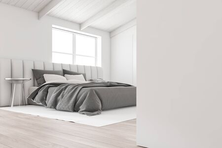 Corner of attic master bedroom with white walls, wooden floor, white king size bed near the window and glass bedside tables. 3d rendering