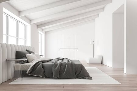 Side view of master bedroom with white walls, wooden floor, comfortable white king size bed near the window, glass bedside tables and white wardrobe with armchair. 3d rendering
