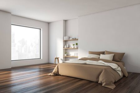 Corner of stylish minimalistic bedroom with white walls, wooden floor, comfortable king size bed with beige blanket and bookshelves. 3d rendering