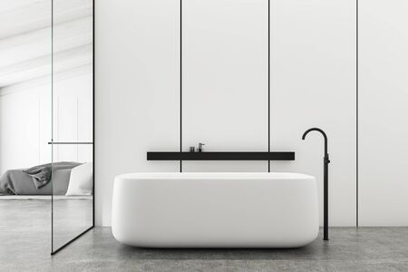 Interior of stylish bathroom with white panel walls, concrete floor, comfortable bathtub and bedroom with king size bed in background. 3d rendering Zdjęcie Seryjne