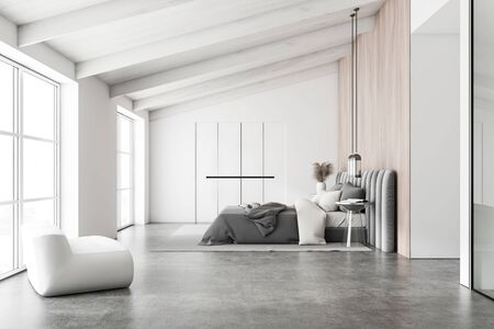 Side view of attic master bedroom with white and wooden walls, concrete floor, king size bed with glass bedside table, white wardrobe and comfortable armchair. 3d rendering