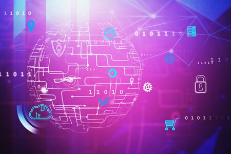 Immersive digital cyber interface over purple background with double exposure of blurry binary numbers. Concept of hi tech and telecommunication. 3d rendering toned image Фото со стока