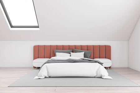 Interior view of attic bedroom with white walls, wooden floor, comfortable orange king size bed and white bedside tables. 3d rendering Zdjęcie Seryjne