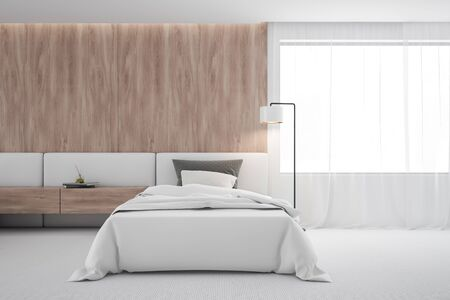 Interior of minimalistic bedroom or hotel suite with white and wooden walls, carpeted floor, comfortable bed with wooden bedside table and floor lamp near the window. 3d rendering