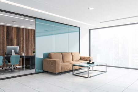 Corner of panoramic waiting room with blue and dark wooden walls, comfortable beige sofa near coffee table and glass wall CEO office in background. 3d rendering Banco de Imagens