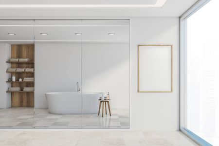 Corner of stylish bathroom with white walls, tiled floor, comfortable white bathtub standing near window with cityscape and vertical mock up poster frame. 3d rendering 스톡 콘텐츠