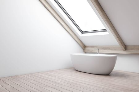Corner of minimalistic attic bathroom with white walls, wooden floor and comfortable bathtub standing under window in the roof. 3d rendering