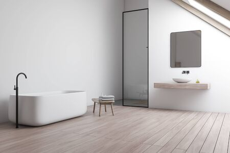 Corner of attic bathroom with white walls, wooden floor, comfortable bathtub, sink standing on wooden shelf with square mirror and shower stall. 3d rendering