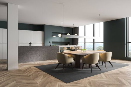 Corner of modern kitchen and dining room with green and white walls, wooden floor, stone island with bar, beige stools and wooden table with chairs. 3d rendering