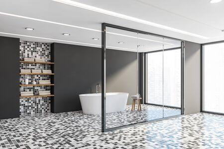 Corner of stylish bathroom with gray walls, mosaic floor, comfortable white bathtub standing near window with cityscape and shelves with towels. 3d rendering