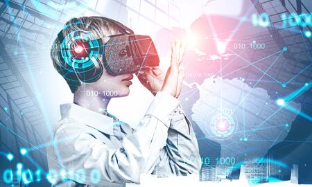 Businesswoman in VR glasses working with immersive network HUD interface in city. Hi tech and internet connection concept. Toned blurry image double exposure. Imagens