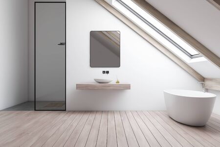 Interior of attic bathroom with white walls, wooden floor, comfortable bathtub, sink standing on wooden shelf with square mirror and shower stall. 3d rendering