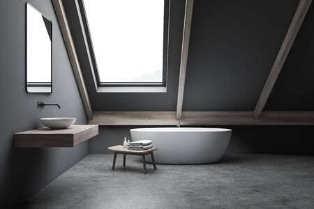 Interior of attic bathroom with grey walls, concrete floor, comfortable bathtub and sink standing on wooden shelf. 3d rendering