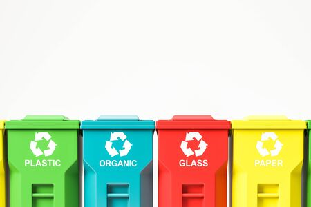 Close up of colorful recycle bins row standing over white background. Recycling and environmental protection concept. 3d rendering mock up