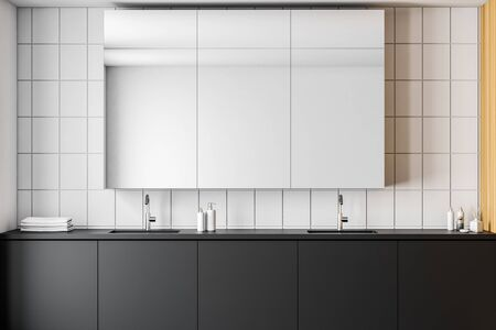 Close up of double sink standing on black countertop in modern bathroom with white tile and wooden walls and cabinet with glass doors. 3d rendering 스톡 콘텐츠