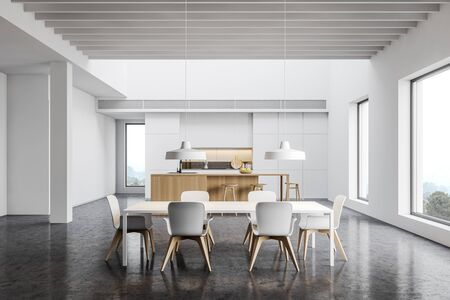 Interior of spacious kitchen with white walls, concrete floor, white countertops, wooden bar with stools and long dining table with Industrial style lamps. 3d rendering