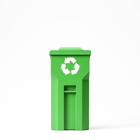 Recycling and environmental protection concept. Closed green recycle bin standing over white background. 3d rendering Stock fotó