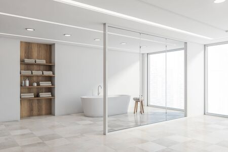 Corner of stylish bathroom with white walls, tiled floor, comfortable white bathtub standing near window with cityscape and wooden shelves with towels. 3d rendering