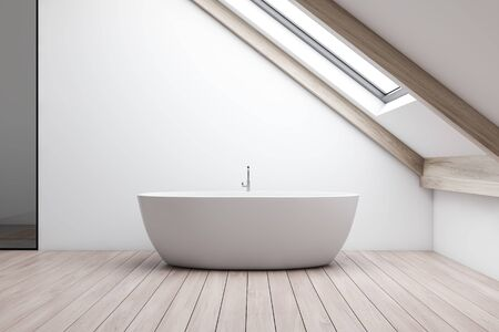 Interior of minimalistic attic bathroom with white walls, wooden floor and comfortable bathtub standing under window in the roof. 3d rendering