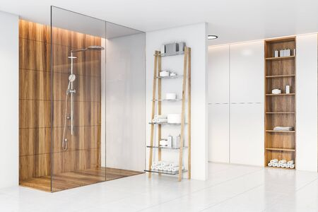 Interior of spacious bathroom with white and wooden walls, comfortable shower stall and two wooden shelves with towels and beauty products. Concept of spa. 3d rendering