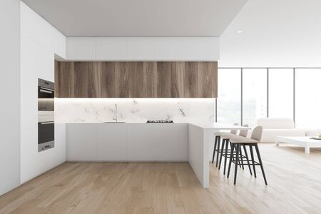Interior of modern kitchen and living room with white walls, wooden floor, comfortable countertops and bar with stools and cozy sofa near coffee table. 3d rendering