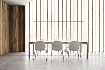 Interior of panoramic attic dining room with wooden walls, tiled floor, long wooden table with white chairs and stylish lamp above it. 3d rendering