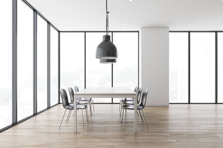 Interior of minimalistic panoramic dining room with white walls, wooden floor, comfortable white table with gray chairs and industrial style lamps. 3d rendering