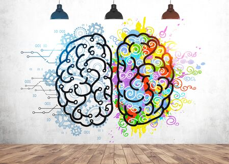 Colorful left and right brain sketch with gears and paint splashes drawn on concrete wall. Concept of creative and analytical thinking and education