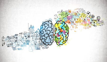Bright brain sketch and business plan icons drawn on concrete wall. Concept of creative thinking and brainstorming