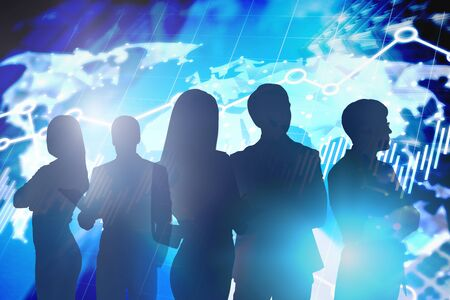 Silhouettes of business partners in city with double exposure of blurry world map interface. Concept of international business. Toned image