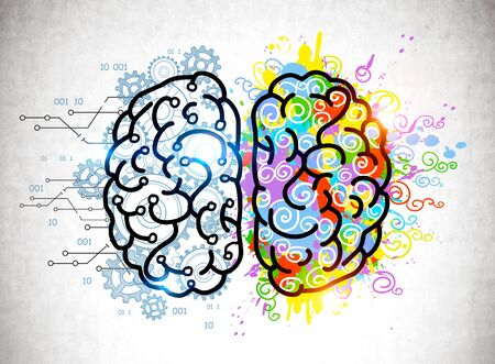 Colorful brain sketch with gears and paint splashes drawn on concrete wall. Concept of creative and analytical thinking and education Standard-Bild