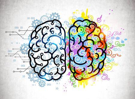 Croquis de cerveau coloré avec des engrenages et des éclaboussures de peinture dessinées sur un mur de béton. Concept de pensée et d'éducation créatives et analytiques Banque d'images