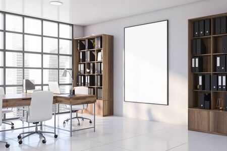 Corner of CEO office with white walls, tiled floor, massive computer table and vertical mock up poster frame hanging between bookcases with folders. 3d rendering
