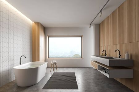 Interior of stylish bathroom with white tile and wooden walls, concrete floor, comfortable bathtub, double sink and window with mountain view. 3d rendering