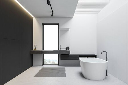 Interior of loft bathroom with white and gray walls, concrete floor, comfortable bathtub and sink on stone countertop near the window. 3d rendering