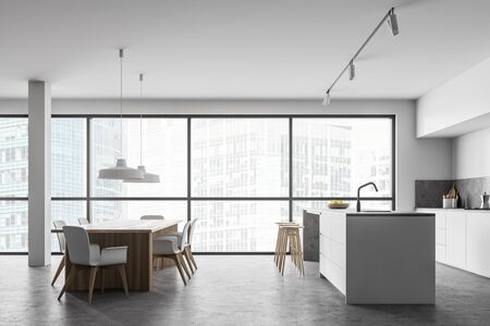 Side view of spacious kitchen with white walls, concrete floor, white countertops, bar with stools and long wooden dining table with white chairs. 3d rendering Reklamní fotografie