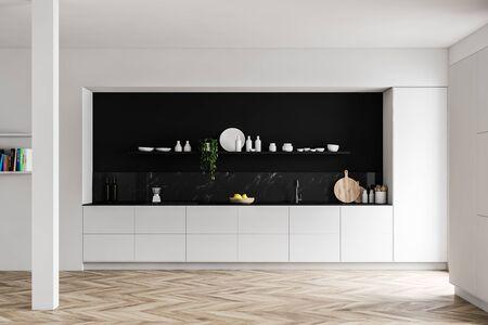 Intérieur d'une cuisine de luxe avec murs en marbre blanc et noir, parquet, plans de travail blancs, grand placard et étagère avec vaisselle. rendu 3D