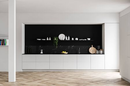 Interior of luxury kitchen with white and black marble walls, wooden floor, white countertops, big cupboard and shelf with dishes. 3d rendering