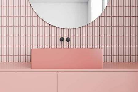 Close up of square sink standing on pink countertop in pink tile bathroom interior with round mirror above it. 3d rendering