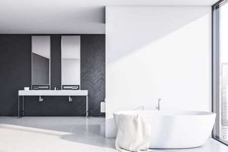 Interior of stylish bathroom with gray wood and white walls, concrete floor, double sink standing on white countertop with two mirrors and comfortable white bathtub. 3d rendering