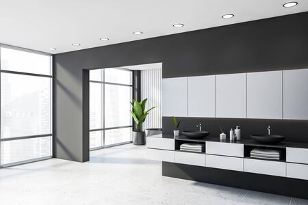 Corner of spacious panoramic bathroom with gray and white walls, white tiled floor, grey double sink standing on white countertop and grey bathtub in background. 3d rendering