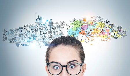 Portrait of astonished young woman in glasses standing near gray wall with creative business plan sketch drawn on it. Stock Photo