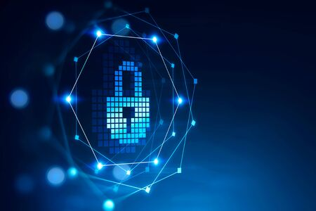 Data protection and cybersecurity concept. Glowing immersive padlock interface over blurry blue background. 3d rendering mock up
