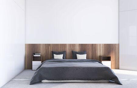 Interior de un cómodo dormitorio con paredes blancas y de madera, alfombra en el piso y una cómoda cama king size con mesitas de noche de madera. Representación 3d