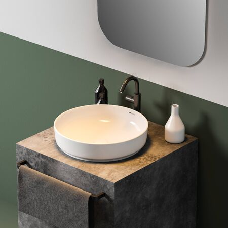 Corner of comfortable bathroom with white and green walls, round sink standing on stone countertop and vertical mirror. 3d rendering