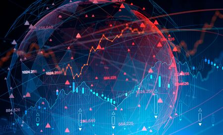 Digital diagram over blurry blue background with planet hologram. Futuristic immersive interface. Concept of trading and fintech. 3d rendering toned image double exposure